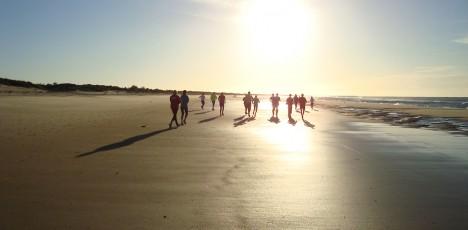 FAO löpning på stranden i soluppg