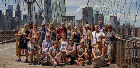 NYC Tjejmil Brooklyn bridge grupp